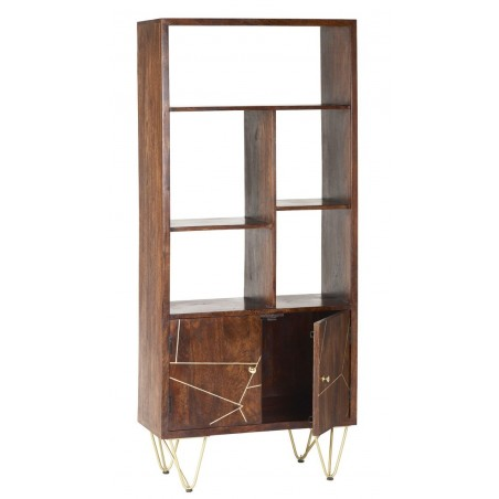 Tanda Dark Gold Large Bookcase, open cupboard detail