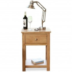 Teramo Oak Side Table. White Background.