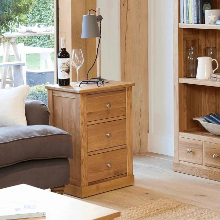 Teramo Oak Three Drawer Lamp Table Drawers