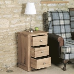 Teramo Oak Lamp Table Open Drawers