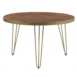 Tanda Dark Gold Round Dining Table, front view