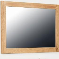Teramo Medium Thick Frame Oak Wall Mirror. White Background.