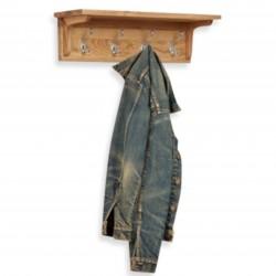 Teramo Oak Wall Mounted Four-Peg Coat Rack angled view