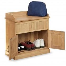 Teramo Compact Oak Shoe Hidden Storage Bench. White Background.