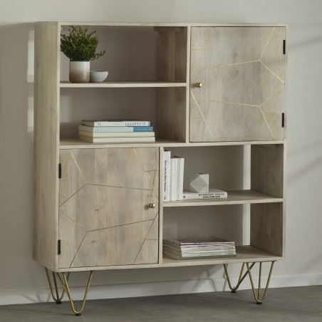 Tanda Light Gold Display Cabinet, room shot