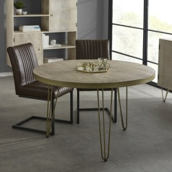 Tanda Light Gold Round Dining Table, room shot 1