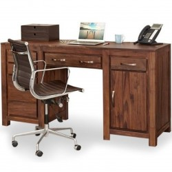 Panaro Double Pedestal Walnut Office Desk. White Background mood shot