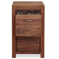 Panaro Two Drawer Compact Walnut Filing Cabinet Open Drawer