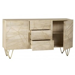 Tanda Light Gold Extra Large Sideboard, open door and drawer detail