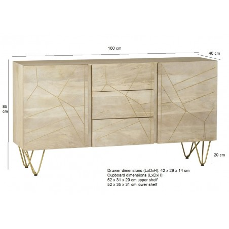 Tanda Light Gold Extra Large Sideboard, dimensions