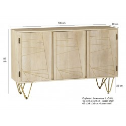 Tanda Light Gold Large Sideboard, dimensions