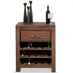 Panaro Walnut 15 Bottle Wine Rack Table. White Background.