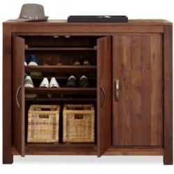 Panaro Multi-Shelf Two Cupboard Walnut Shoe Storage Unit