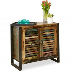 Akola Compact 2 Door Reclaimed Wood Sideboard mood shot