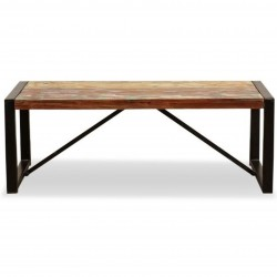 Akola Two Seat Reclaimed Wood Dining Bench White background