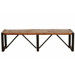 Akola large reclaimed wood dining bench White background