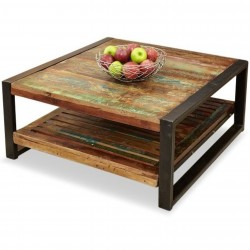 Akola Reclaimed Wood Square Coffee Table White background