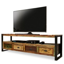 Akola Large Four Drawer Reclaimed Wood TV Stand angled view