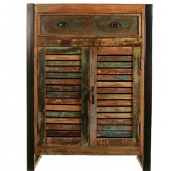 Akola Four Shelf Reclaimed Wood Shoe Storage Unit - Front View