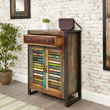 Akola Four Shelf Reclaimed Timber Shoe Storage Cupboard