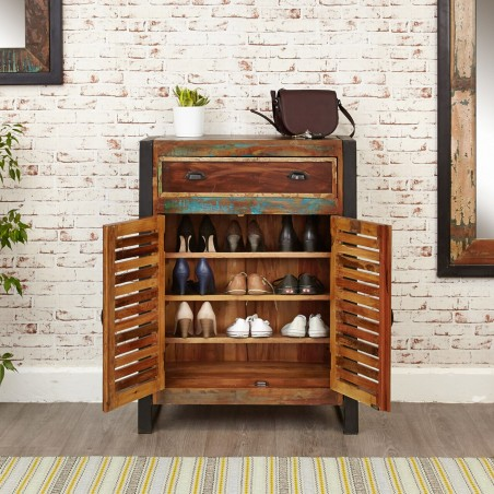 Akola Reclaimed Wood Shoe Storage Cabinet