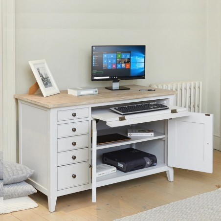 Ludo Hidden Home Office Desk Angled View Open