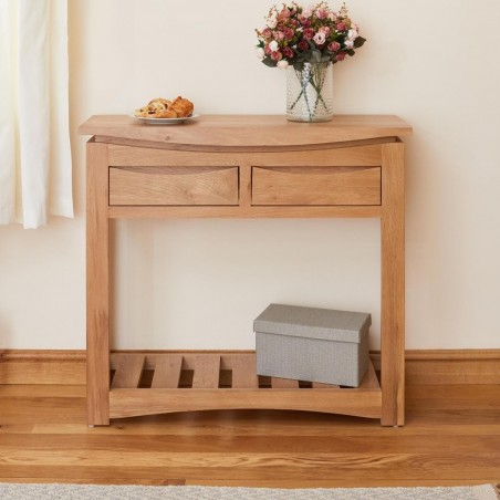 oak console table with drawers