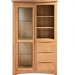 glass door oak display unit