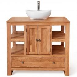Teramo Bathroom Oak Round Sink Unit