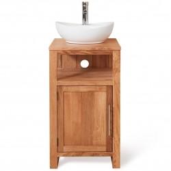 Teramo Bathroom Oak Single Door Sink Unit - Round