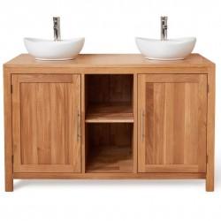 Teramo Bathroom Oak Double Sink Unit - Round