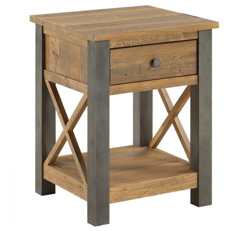 An image of Urban Elegance Reclaimed Lamp Table With Drawer
