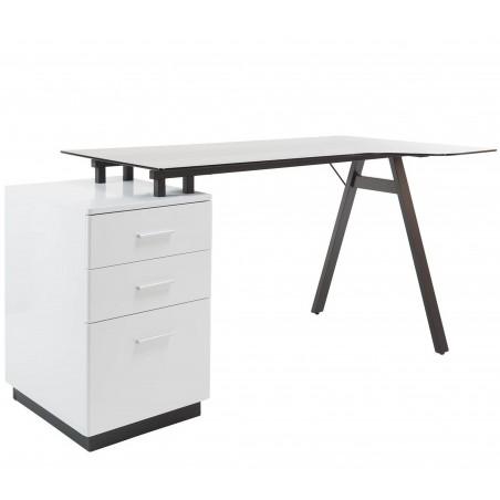 Logan Glass Desk with Pedestal