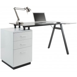 Logan Glass Desk with Pedestal Front View