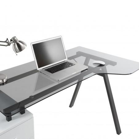 Logan Glass Desk with Pedestal Top Deail