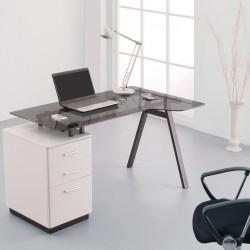 Logan Glass Desk with Pedestal Mood Shot