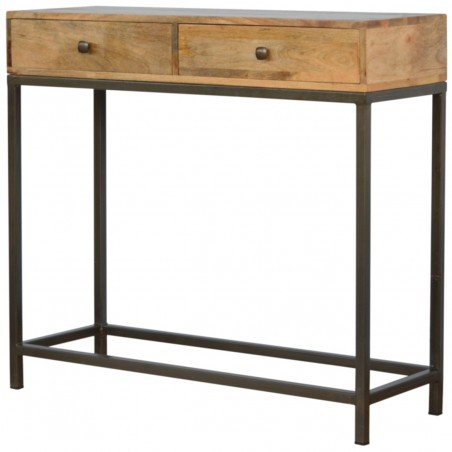 Alverton Industrial Style Console Table Angled View