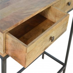 Alverton Industrial Style Console Table Drawer Internal Detail