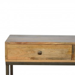 Alverton Industrial Style Console Table Drawer Front Detail
