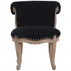 Brochere  Velvet Studded Chair - Black Front View