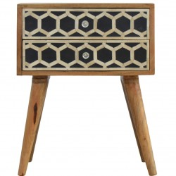 Kuru Bone Inlay Two Drawer Bedside Table Front View
