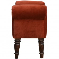 Velvet Upholstered Bench - Brick Red Side View