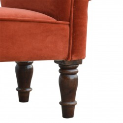 Velvet Upholstered Bench - Brick Red Leg Detail