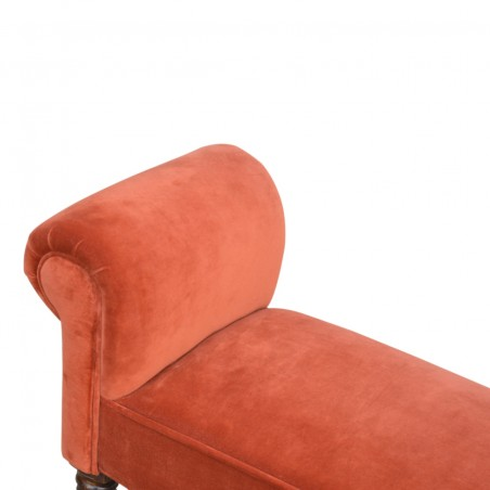 Velvet Upholstered Bench - Brick Red Seat Detail