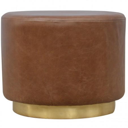 Nava Buffalo Leather Occasional Stool Front View