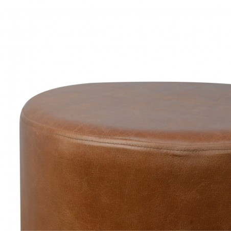 Nava Buffalo Leather Occasional Stool - Top Detail