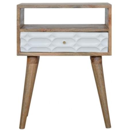 Berg Carved Front Bedside Unit with Open Slot - Front View