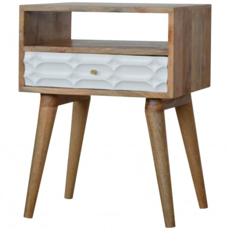 Berg Carved Front Bedside Unit with Open Slot - Angled View