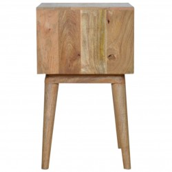 Berg Carved Front Bedside Unit with Open Slot - Side View