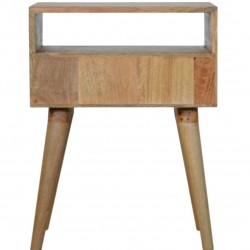 Berg Carved Front Bedside Unit with Open Slot - Rear View